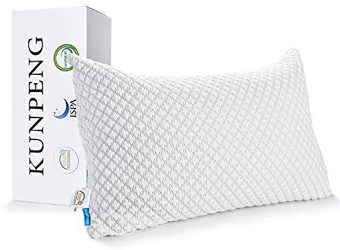 Pillows for Sleeping, KUNPENG Cooling Pillow with Hypoallergenic Bamboo Cover, Adjustable Shredded Memory Foam Bed Pillows for S