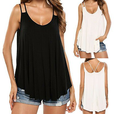 Womens Sleeveless Strappy Blouse Vest Plain Camiosole Casual Blouse Tops T-Shirt
