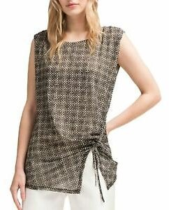 DKNY NEW Women's Black Printed Ruched Sleeveless Blouse Shirt Top S TEDO