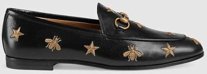 Gucci - Gucci Jordaan Embroidered Leather Loafer