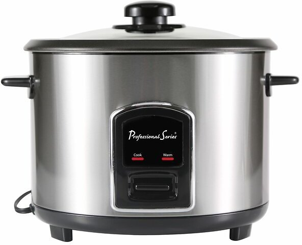 Continental Electric Stainless Steel Rice Cooker with Glass Lid