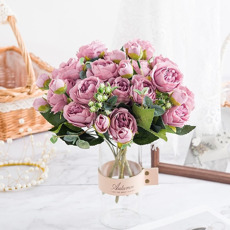 US $3.03 |Pink Artificial Flowers 9 Heads Silk Peony Bouquet Tea Rose Fake Plant for DIY Living Room Home Garden Wedding Autumn Decoration|Artificial & Dried Flowers| - AliExpress