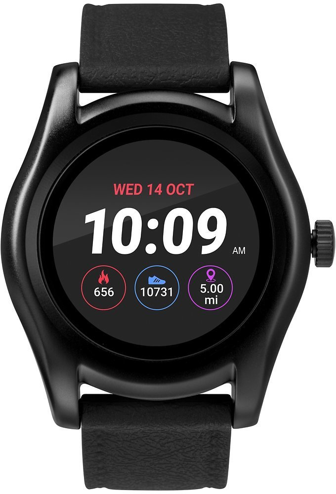 IConnect By Timex Classic Round Smartwatch with Heart Rate & Two-Way Bluetooth Calling 45mm – Black with Black Strap