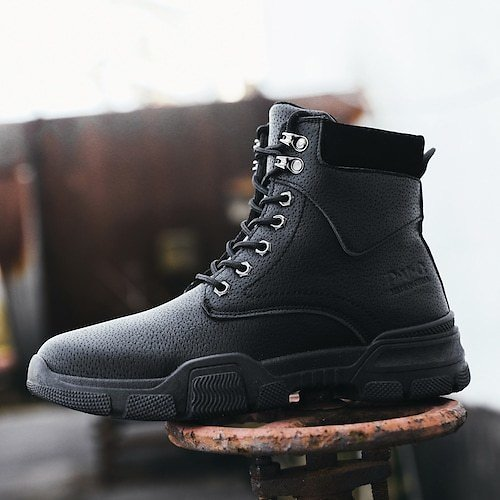 Men High Top Steel Toe Boots Lace Up Work Safety Shoes Army Combat Hiking