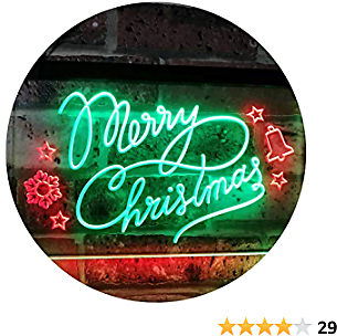 ADVPRO Merry Christmas Tree Star Bell Display Home Décor Dual Color LED Neon Sign Green & Red 24