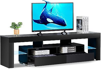 Bonzy Home Glossy LED TV Stand, Black TV Stand with LED RGB Lights, Wood Media S