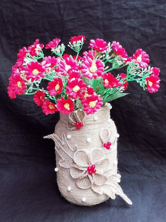 Jute Vase Handmade Table Decor Anemones Burlap Decoration Silk Flowers Reception Artificial Flowers Table Centerpiece