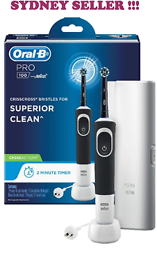 NEW Oral-B PRO 100 CROSSACTION Rechargeable Electric Toothbrush Midnight Black