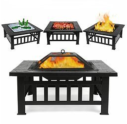 Outdoor Wood Burning Fire Pit Table