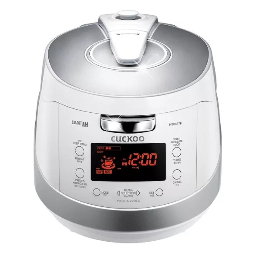 Cuckoo Electronics Induction Heat Stainless Steel 6 Cup Electric Pressure Rice Cooker, White