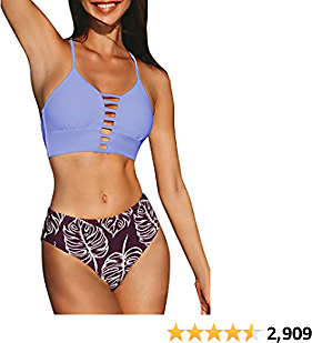 CUPSHE Women's Mid Waisted Bikini Set Lace Up Two Piece Swimsuits