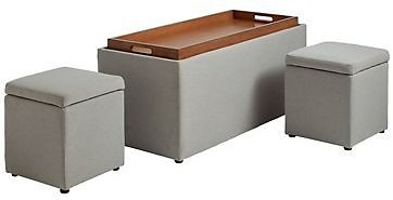 Storage Bench with Tray and 2 Ottomans in Greige   Bed Bath & Beyond