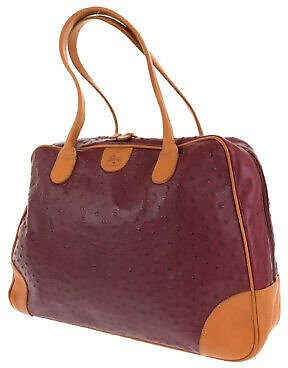 Free Shipping IL BISONTE Tote Bag Shoulder Bag Red Brown Leather Women