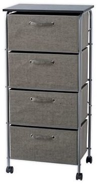 ORG 4-Drawer Storage Cart with Wheels in Grey | Bed Bath & Beyond