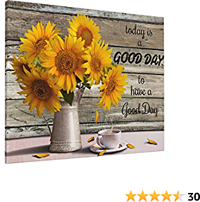 Vantboo Inspirational Quotes Sunflower in Vase Coffee Canvas Prints Wall Art Paintings Home Decor Artworks Pictures for Living Room Bedroom Bathroom Decoration Ready to Hang 16x20 Inches