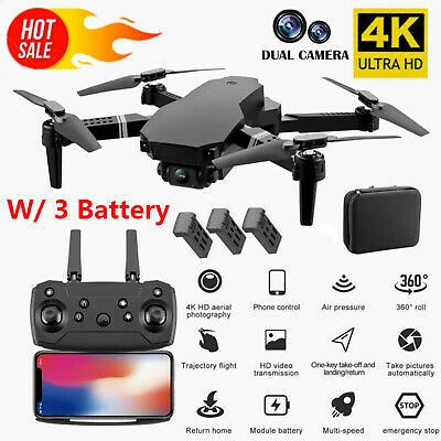 RC Drone 4K HD Dual Camera WiFi FPV Selfie Drone Foldable Quadcopter + 3 Battery