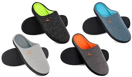 VONMAY Men's Slippers Two-Tone Cozy House Shoes Open Back Memory Foam Slippers