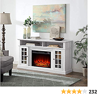 BELLEZE Fireplace TV Stand with Remote Control Console Media Shelves for TVs Up to 65