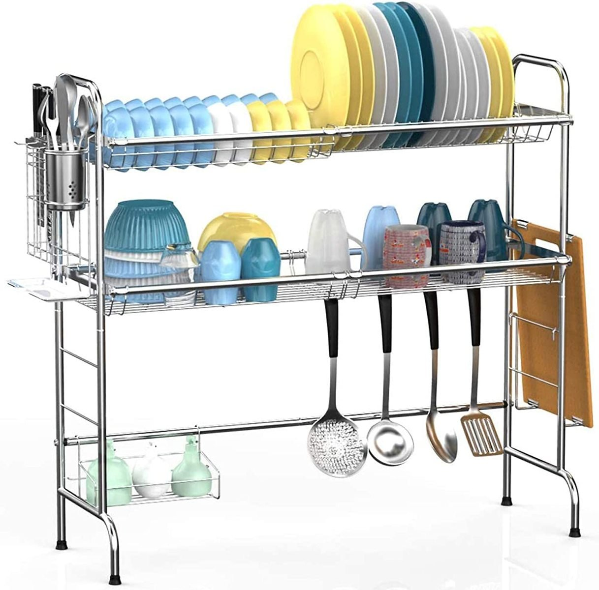Over The Sink Dish Drying Rack, Veckle 2 Tier Dish Rack Easy Install Dish Drainer Non-Slip Stainless Steel Dish Dryer, Utensil H