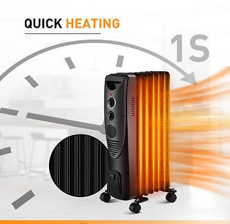 Moprem Home Moprem Home Oil Filled Radiator Heater Adjustable Thermostat Portable Electric Heater