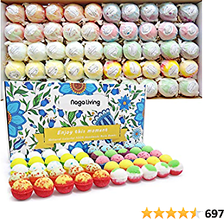 Organic Bath Bombs Gift Set, 50 Handmade Bulk Bath Bombs For Kids, Women, Men, Wonderful Fizz Effect Bath Gift For Valentine's Day, Christmas & Any Anniversaries