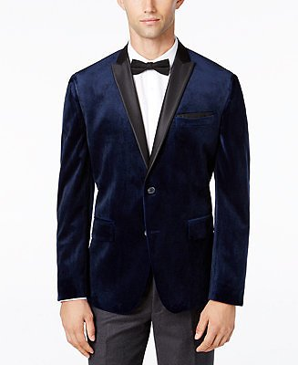 INC Mens Mason Slim-Fit Velvet Blazer