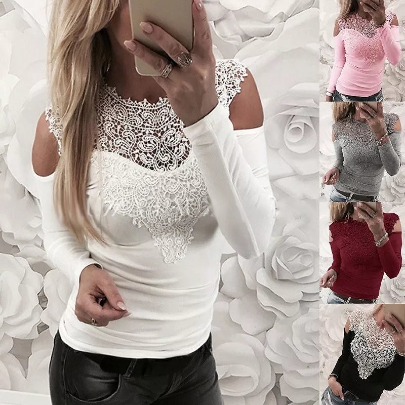 Lace T-Shirt Women Off Shoulder Pink Slim Fit Tees Ladies O-Neck Spring Autumn Casual Elegant Tops T-Shirts Women Clothing