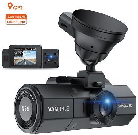 Vantrue N2S 4K Dash Cam for Uber, Dual 1440P Front and Inside Dash Camera with GPS, Car Dashboard Camera with Infrared Night Vision, Parking Mode, Motion Sensor, Capacitor, Support 256GB MAX