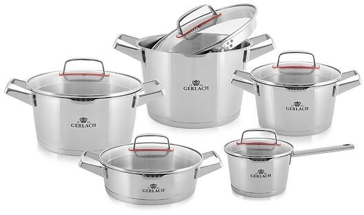 VVRHomes 10 Pieces Stainless Steel Cookware Set