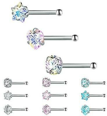 3Pcs/Set Crystal Nose Ring Bone Stud Stainless Steel Body Piercing Jewelry Gifts