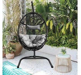 Costway Hammock Chair with Stand Hanging Cushioned Swing Egg Chair