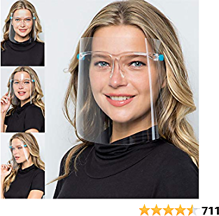 Anti-fog Reusable Face Shields with Glasses Frame Set for Men and Women to Protect Eyes and Face,6 Glasses and 12 Shields