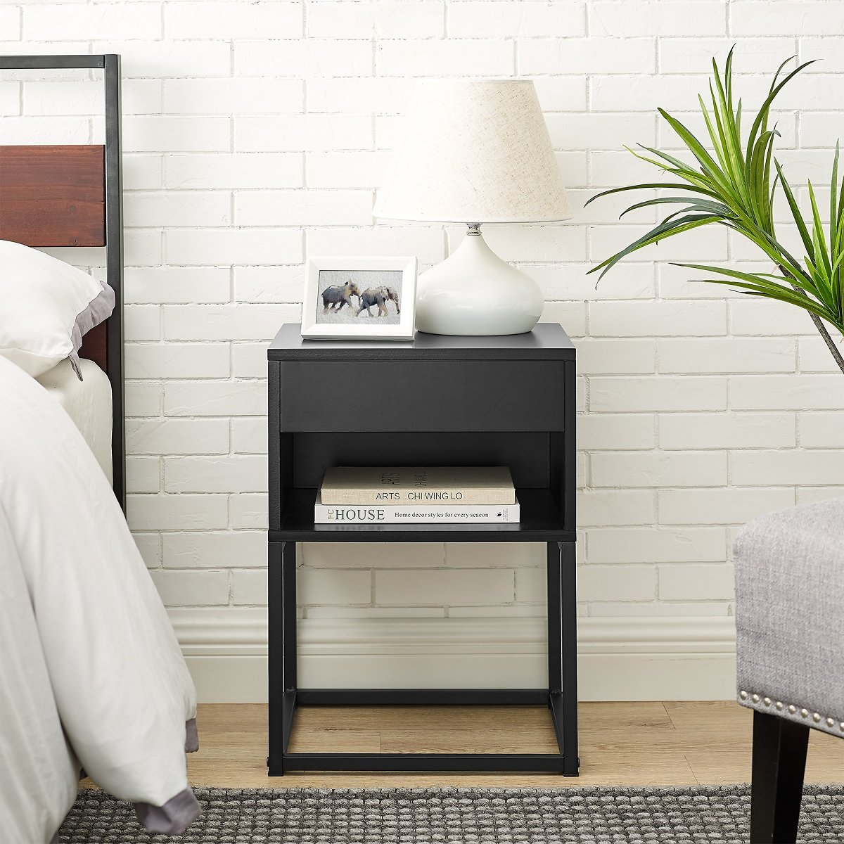 Musehomenic End Table with Drawer and Shelf, Metal Legs, Black