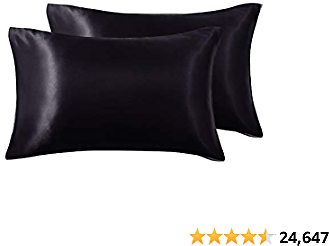 Love's  Silk Satin Pillowcase for Hair and Skin (Black, 20x26 Inches) Slip Pillow Cases Standard Size Set of 2 - Satin Cooling Pillow Covers with Envelope Closure