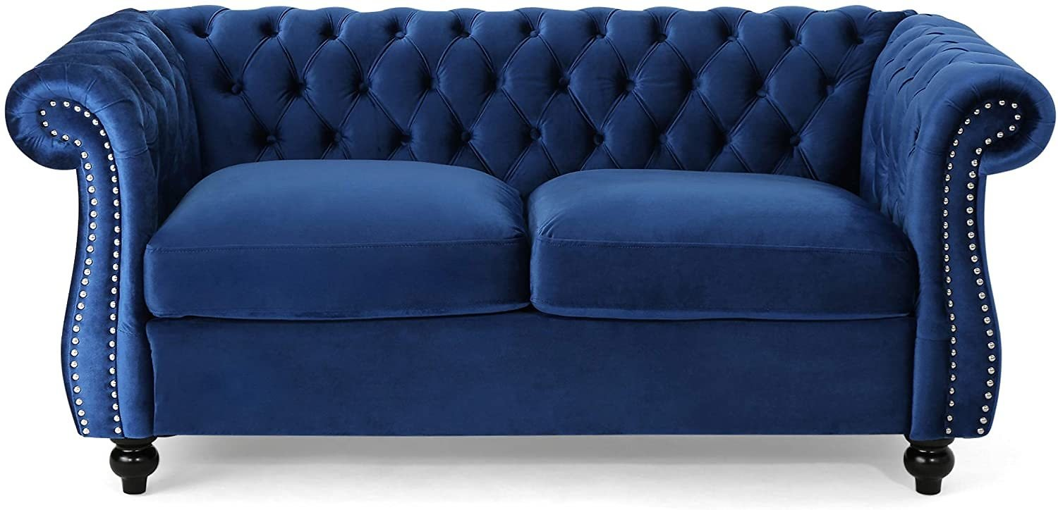 Christopher Knight Home Karen Traditional Chesterfield Loveseat Sofa, Navy Blue and Dark Brown, 61.75 X 33.75 X 27.75,306027