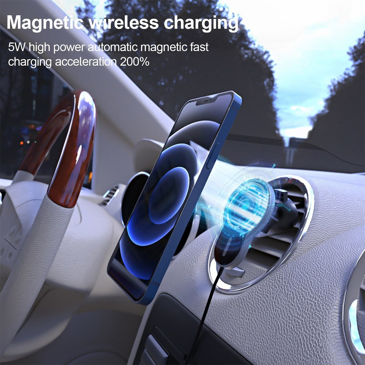 US $14.12 53% OFF|15W Magnetic Car Wireless Charger Fast Charging Mount Air Vent Phone Stand For Iphone 12 Pro Max 12Mini Magsafe Car Holder D18|Car Chargers| - AliExpress