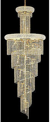 Palace Spiral 22 Light Crystal Chandelier Ceiling Light Gold 22x60