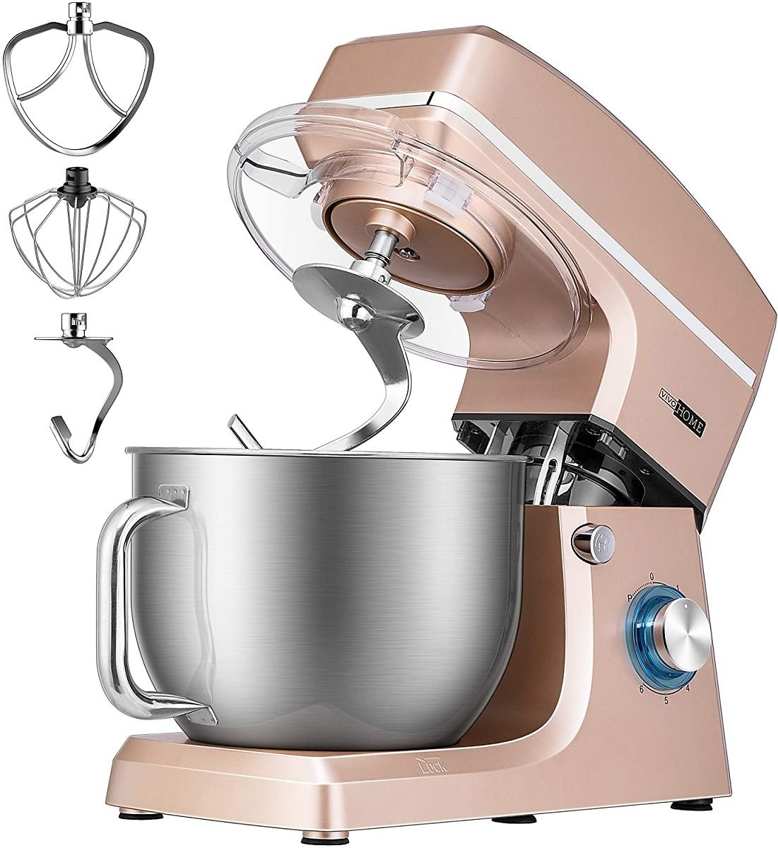 VIVOHOME 7.5 Quart Stand Mixer, 660W 6-Speed Tilt-Head Kitchen Electric Food Mixer with Beater, Dough Hook and Wire Whip, ETL Li