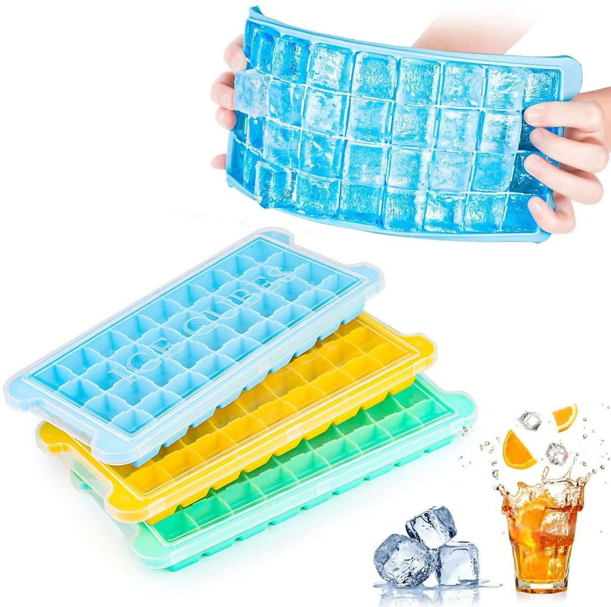 Ice Cube Trays Silicone with Lids 3 Pack, Easy Release Flexible Ice Cube Molds,36 Cubes Per Tray for Cocktail, Whiskey, Baby Foo