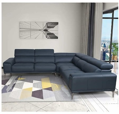 Quinton Top Grain Leather Sectional with Adjustable Headrests