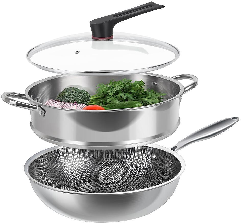 FGY 12 Inch Stainless Steel Wok Diamond Pattern Nonstick Cookware Set with Lid