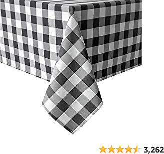 Hiasan 60 X 120 Inch Checkered Tablecloth Rectangle - Stain Resistant, Spillproof and Washable Gingham Table Cloth for Outdoor Picnic, Kitchen and Holiday Dinner, Black and White