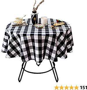 Wracra Cotton Linen Checkered Round Tablecloth Rustic Buffalo Plaid Table Cover for Kitchen Dinning Room Party Home Picnic ( Black and White, 55 Inch)