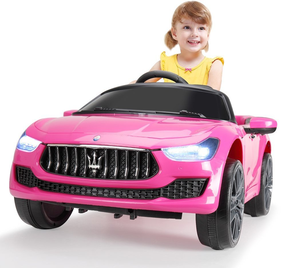 Tobbi Kids Ride On Car 12V Rechargeable Toy Vehicle W/ MP3 Remote Maserati Licensed Pink