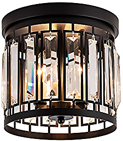 Larootsi Modern Black Chandelier with Crystal Flush Mount Ceiling Light Fixture for Hallway Kitchen Dining Room