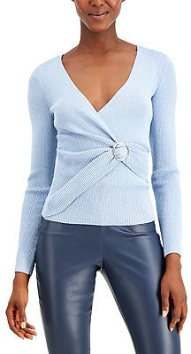 INC International Concepts INC Lurex V-Neck Buckle Sweater, Created for Macy's & Reviews - Sweaters - Women