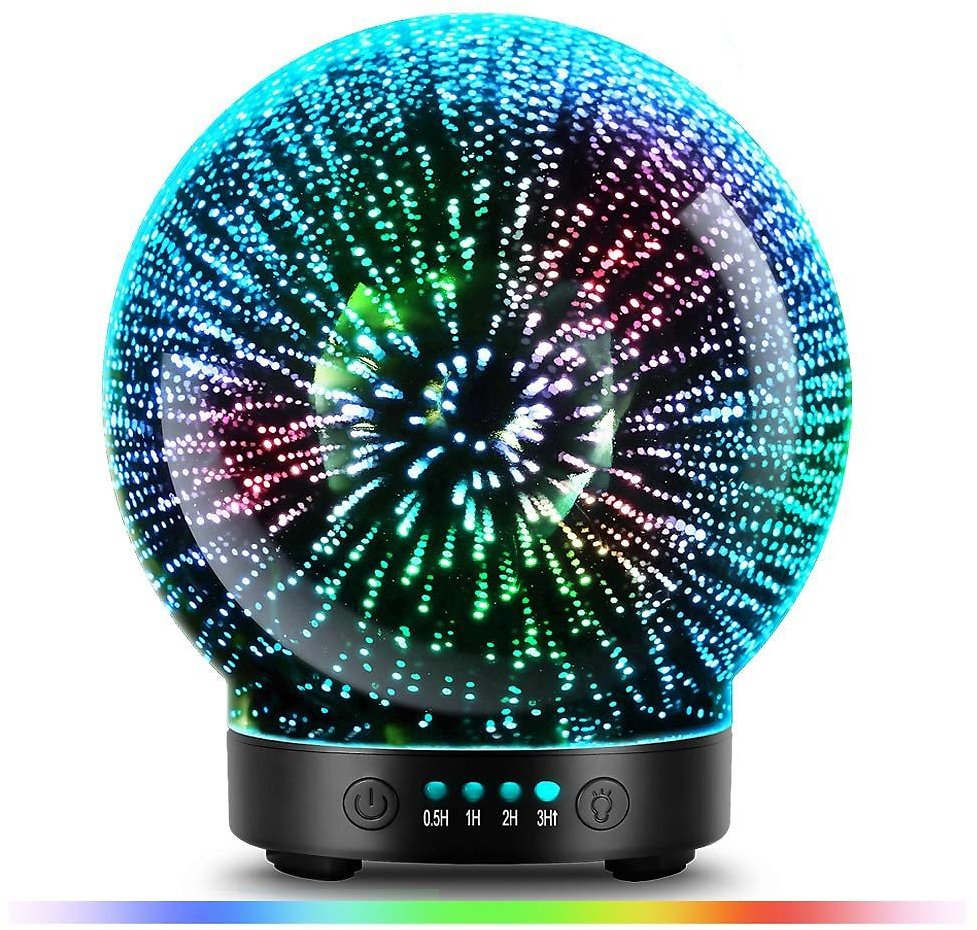 US $34.67 15% OFF 3D Glass Aroma Diffuser,Aromatherapy Ultrasonic Essential Oil Version Air Humidifier,Modes Firework 100ml 7Color Changing Lights Humidifiers  - AliExpress