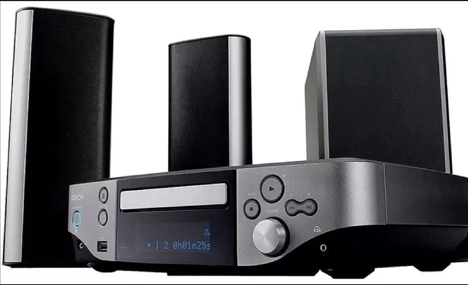 Denon DVD and Home Entertainment System with Two Floor Speaker Stands