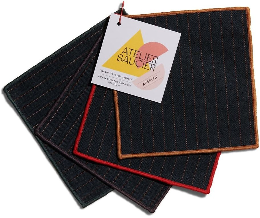 Magnificent Pinstripe Cocktail Napkins, Set Of 4