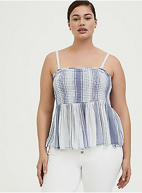 Blue Striped Gauze Smocked Cami